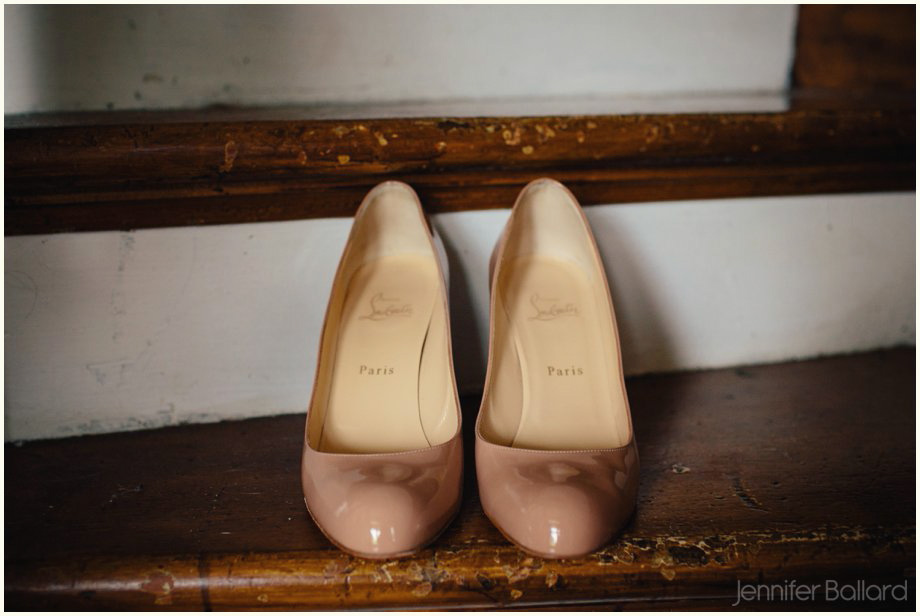 Farmhouse wedding nude shoes
