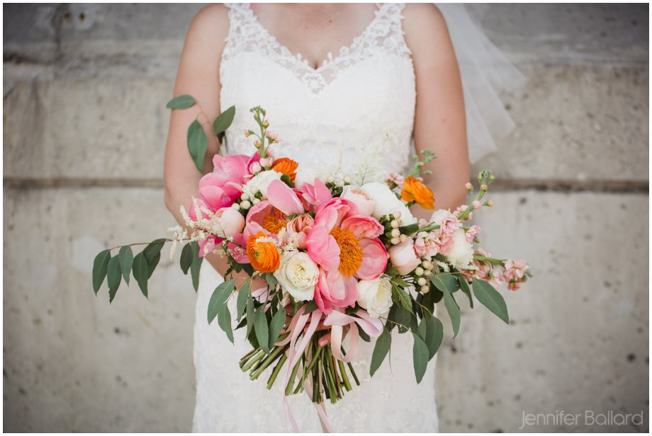 pink, coral & green bouquet